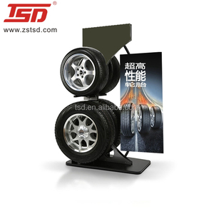 Tsd-M1136 Custom Car Tire Display Stand Rack For Exhibition and Wheel Shop Promotion Standing Displays