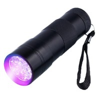 NEW Promotion Pocket Aluminium logo engraving 395nm Mini Ultraviolet Torch 12 LED UV Flashlight