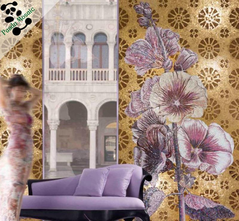 mb smm128 lotus painting bathroom decor handmade flower tile chinese mosaic picture glass mosaic wall art