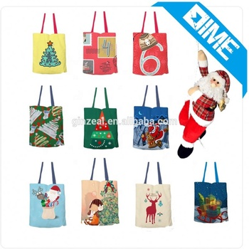 Qetesh Best Selling Cotton Canvas Tote Bag Christmas Canvas Gift Bag