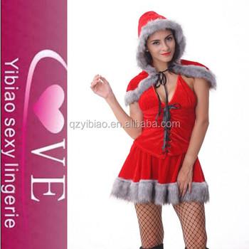 School Girl Sex Cosplay Cheap Santa Christmas Costume Velvet For Women