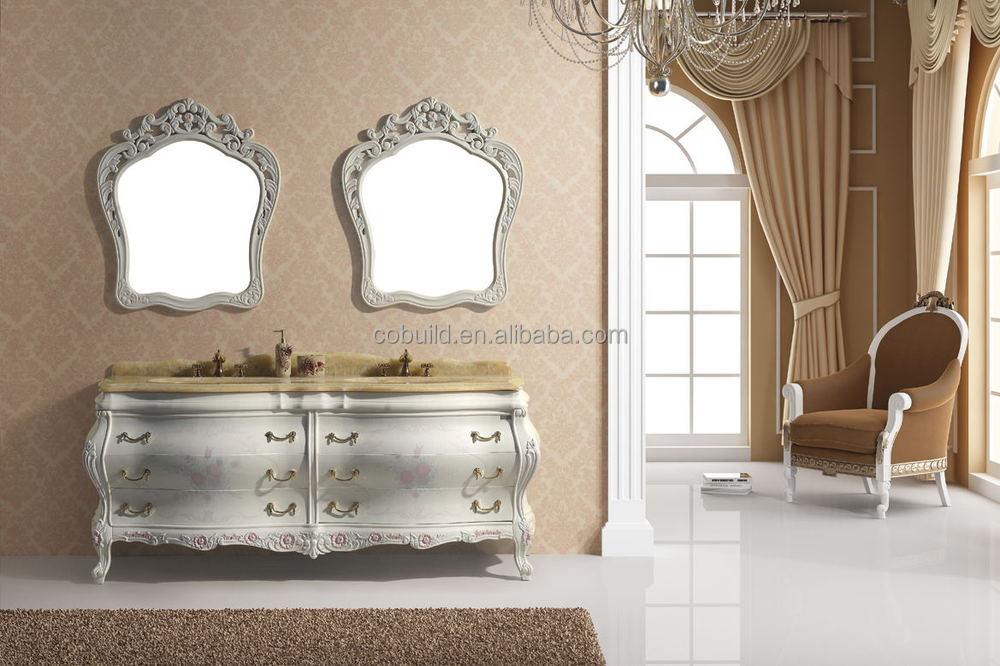 Klassieke dubbele wastafel badkamer wastafelmeubel met spiegel