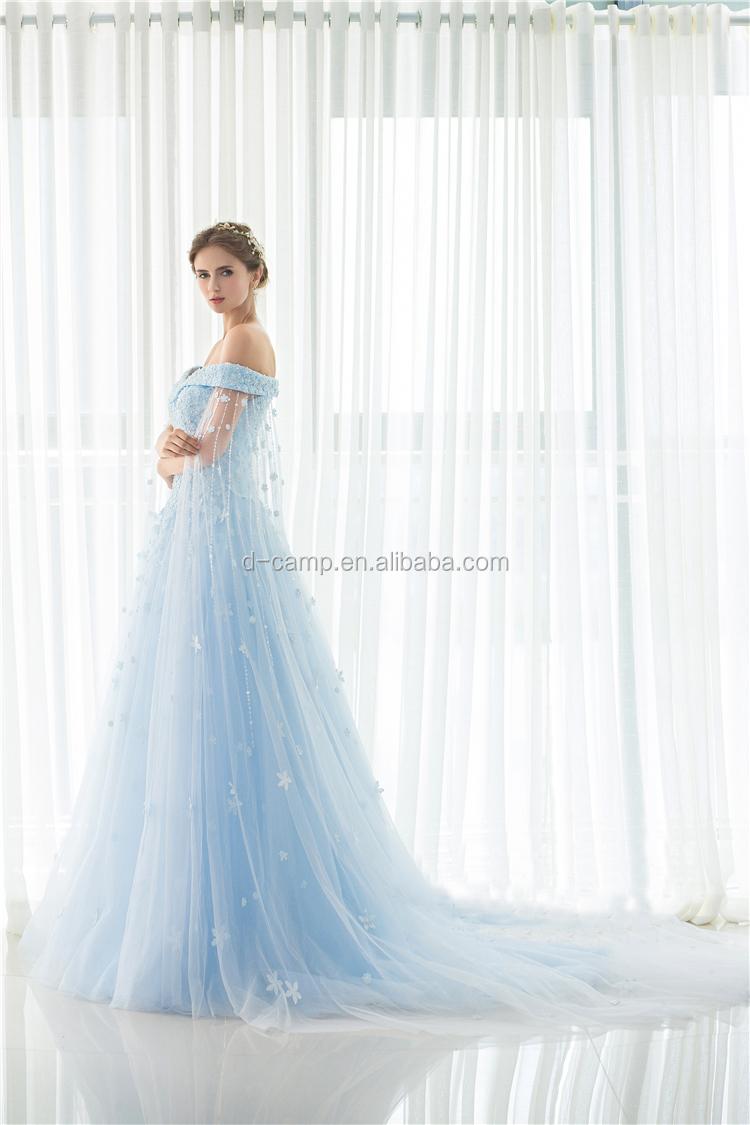 WD029 New Hand Work Design Ice Blue Wedding Dress 2017 Bridal