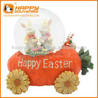 Custom home decoration craft 100mm happy easter rabit holiday snow globe