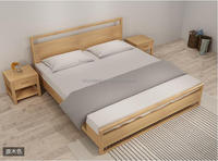 Living room furniture economical Northern Europe style 1.8M rubber wood double bed