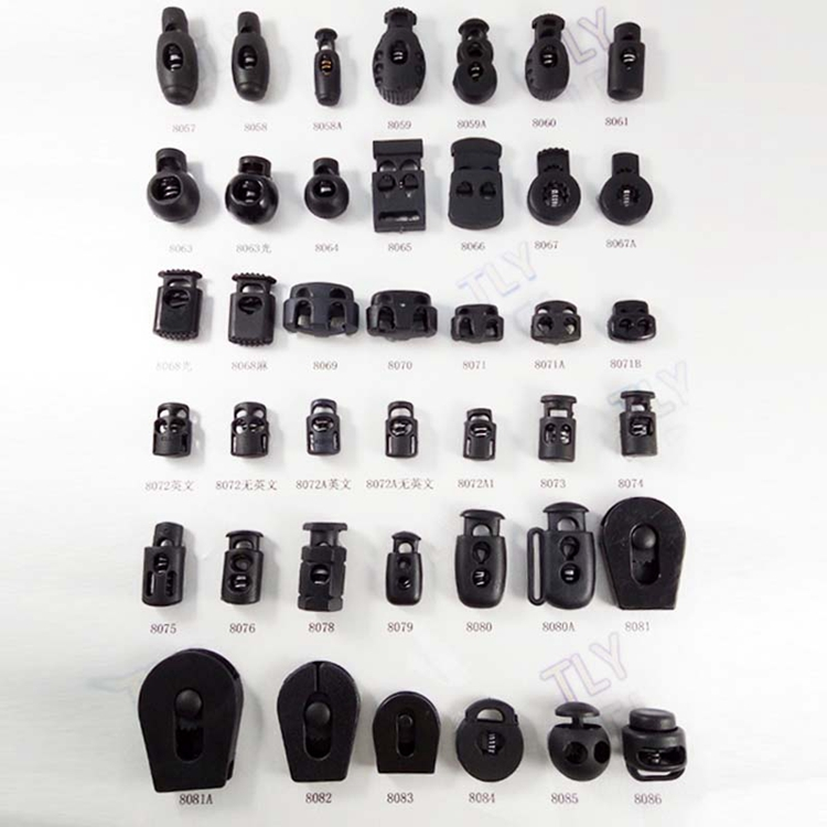Custom different shape size black Wholesale adjustable double 2 hole plastic cord lock,cord stopper spring plastic stopper