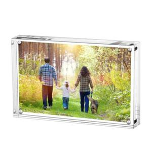 Acrylic Photo Frame Desk Picture Frame 4x6 Inches Photo Holder Crystal Clear Double Sided View