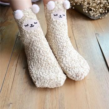 Wholesale Girls Winter Plush Socks Warm Coral Velvet Sleep Socks Floor Socks  Women fb5840e80b