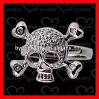 skull rings for women made of silver and white gold plating