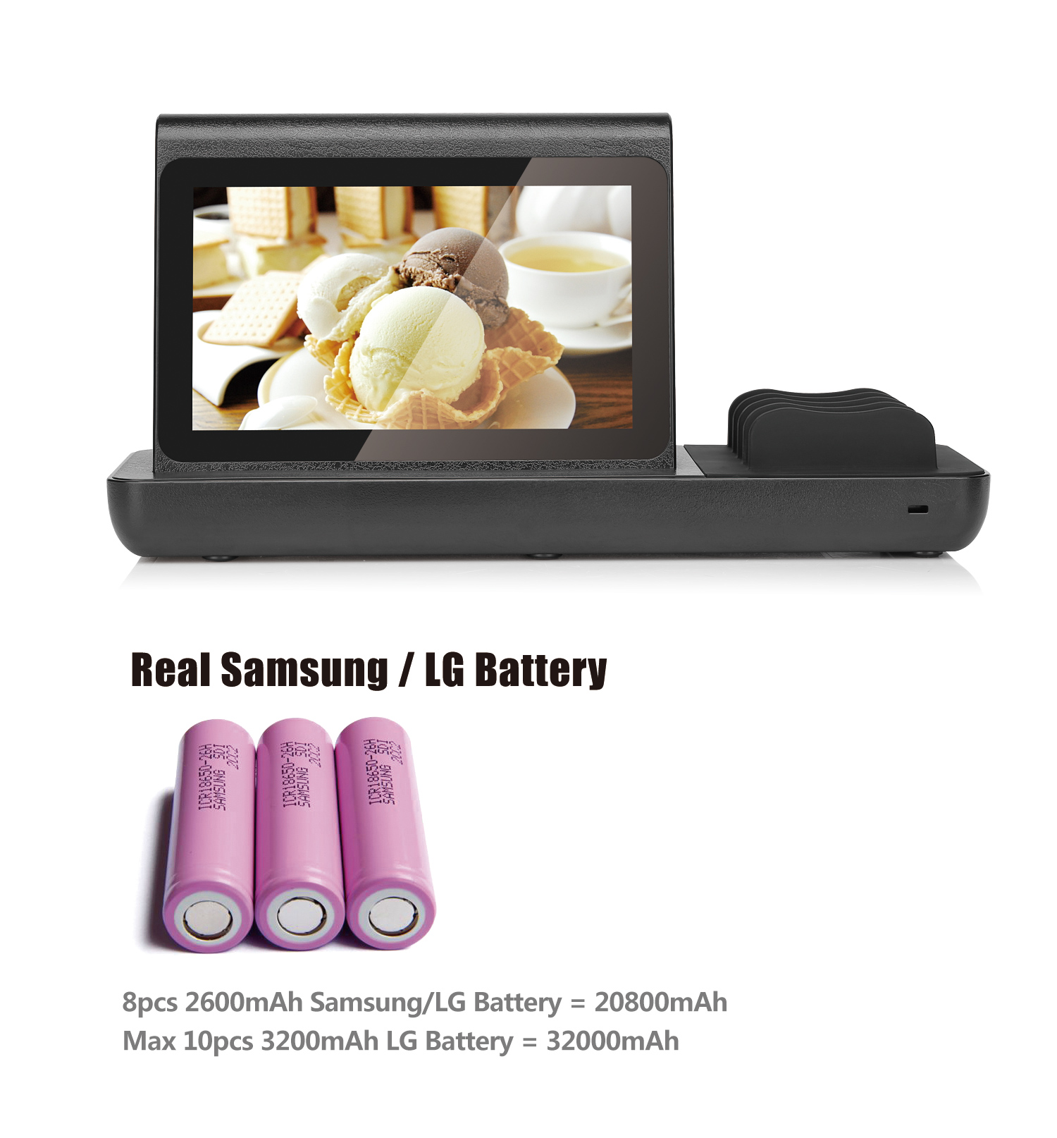 Wifi video advertising player 20800mah double sides touch screen android advertising player