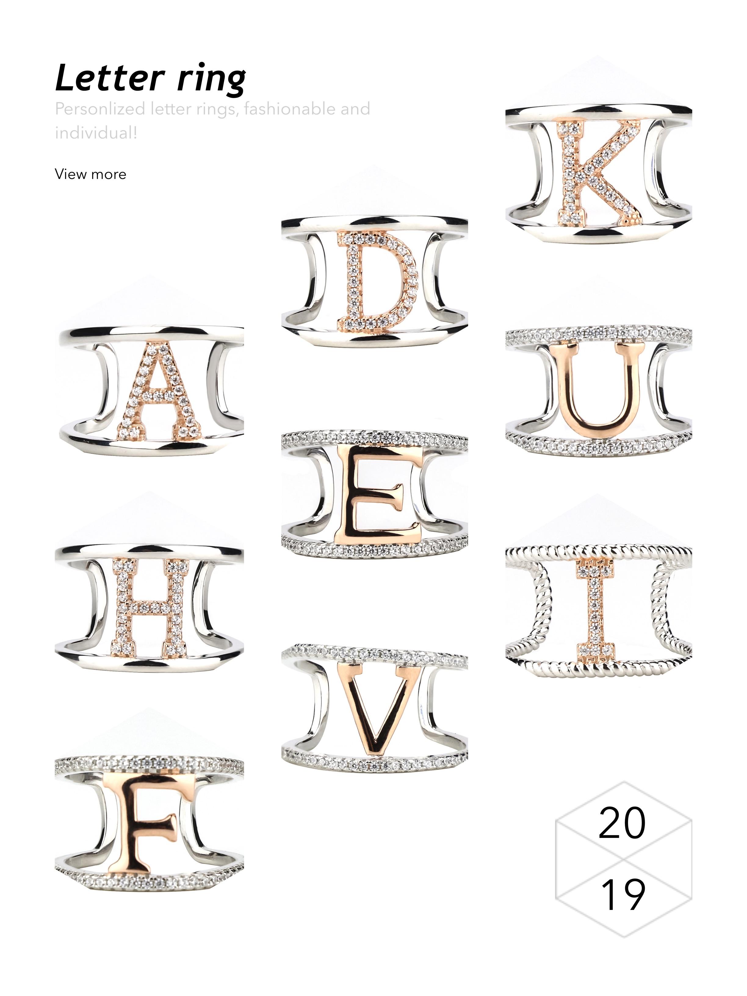 Letra E Alfabeto da Prata Esterlina Tamanho do Anel 11 Abertura Simples Banda de Prata Com Zircões