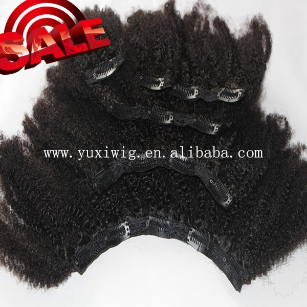 2016 hot new products wholesale unprocessed cheap 100% human hair afo kinky curly clip in hair extension
