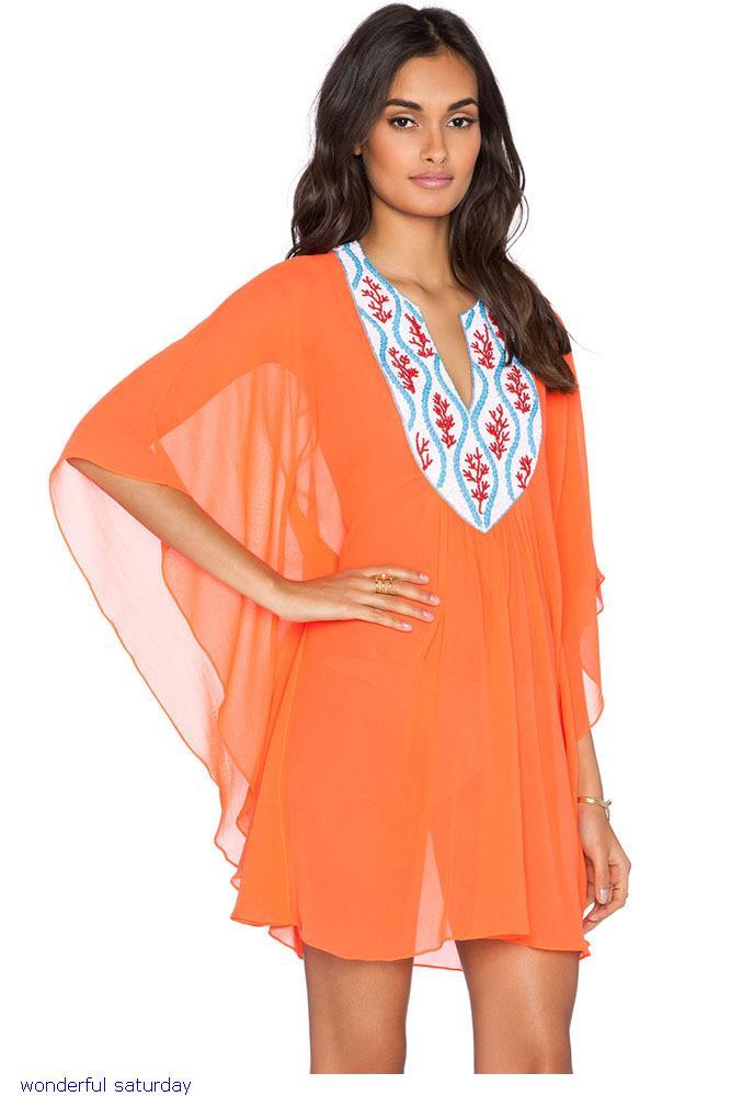 af183d9cbb31 Get Quotations · Bathing Suit Cover Ups Embroidered Chiffon Tunic Cover Ups  Summer Women Swimwear Kaftan Kimono Beach Wear