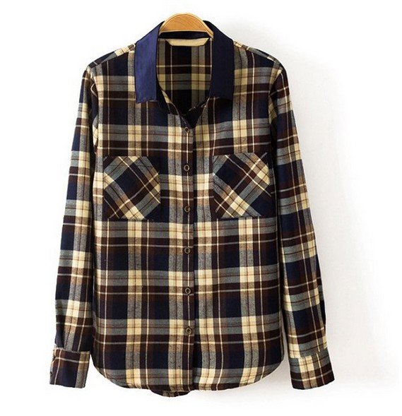 blouses for women 2014 Free Shipping Hot Sale Fashion Color Block Plaid Turn-down Collar Double Pocket Design Blouse