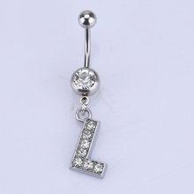 Кольцо из нержавеющей стали, 26 букв в стиле а-м, с кристаллами и инкрустированными пупырями(Китай)