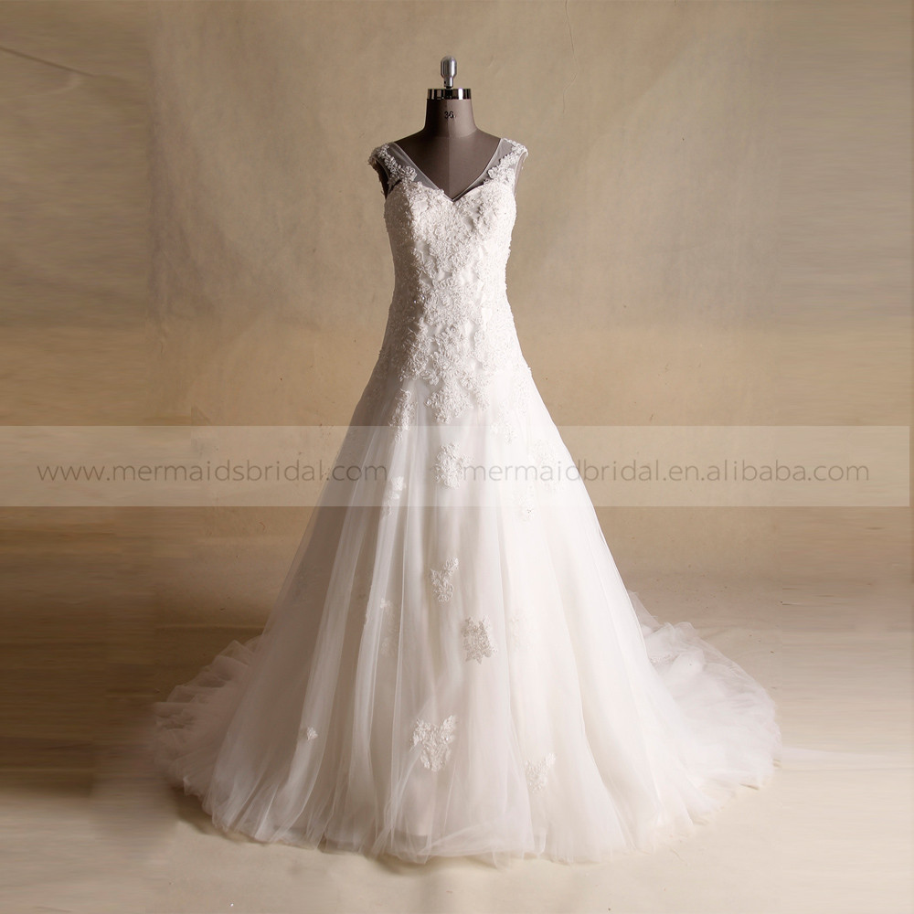 Elegant V Neck A Line Bridal Dress Lace Applique Beads