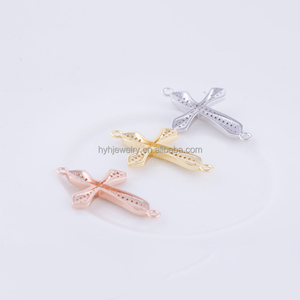 New design copper material cross pendant with zircon stone fancy custom cross jewelry connector