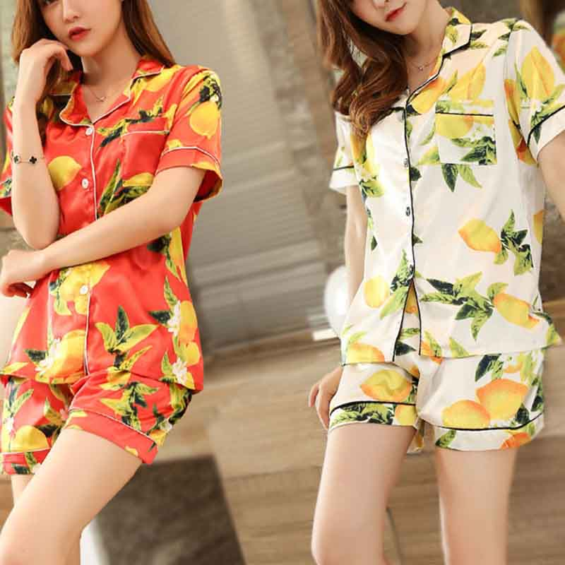 Imitation Silk Women's Lemon Sleepwear Pyjamas
