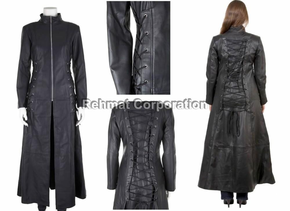 Lange Leren Jas Dames.Gotische Stijl Lange Leren Jas Goth Steampunk Zwarte Kleur Buy