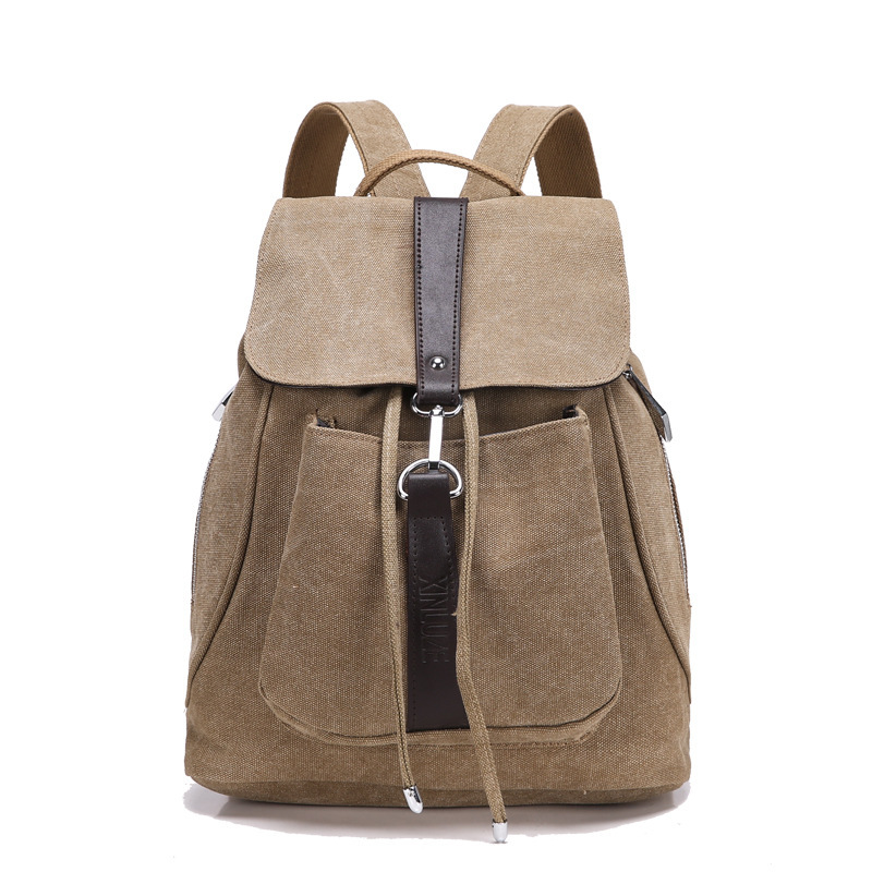 Get Quotations · Canvas Leather Hiking Daypack Teen Boys Girls College  Students School Backpack Bags Laptop Bag Casual Back 5f89ade08c