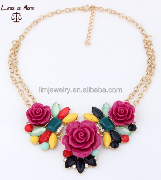 2015 India style high quality colorful flower statement necklace for women