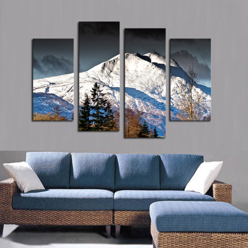 Bedroom Art Painting: Aliexpress.com : Buy 4 PCS Canvas Wall Paintings Snow