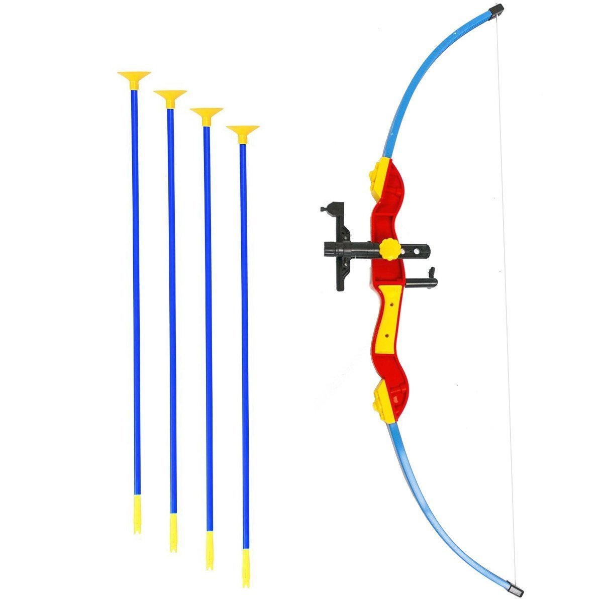 """Toy Bow & Arrow for kids, Archery Bow 32"""" Long, Suction Arrow 22"""", Pretend Play, Soft Power Safe Children Game Set - Mulit-Color [USA Warranty 100% Guaranteed]"""