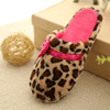 Leopard Print winter indoor women's flat slippers