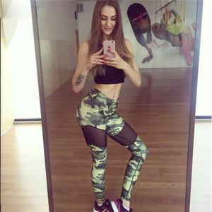 European and American foreign trade explosion 2017eaby autumn hot new women's wear camouflage mesh yoga sports pants