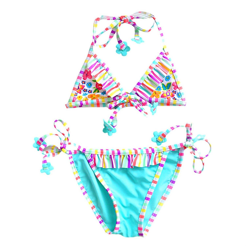 d09505c034 Get Quotations · qSQSeqeT Kids Summer 2pcs Swimsuits Girls Bikini Set Beach Wear  Swimsuit Halter Bikini