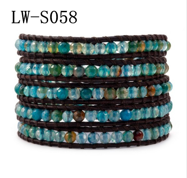 2014 New Trendy 4mm Blue Agate Mix 5 Wrap Brown Leather Bracelet For Women