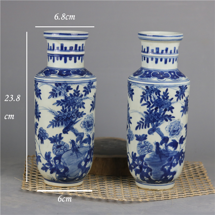 Chinese blue and white hand painted floral design trumpet ceramic vase