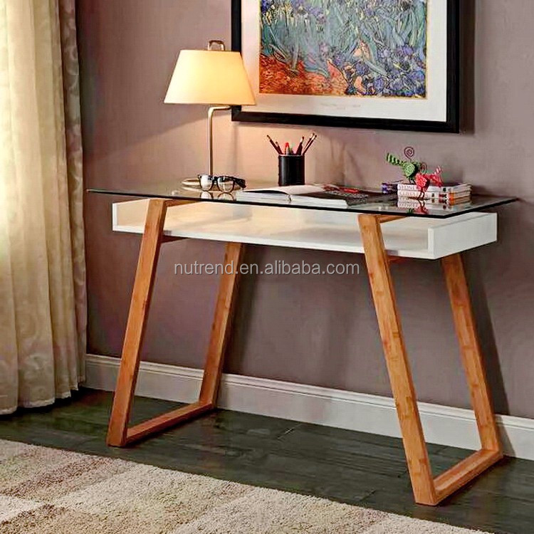 Modern simple glass top office desks with bamboo leg design