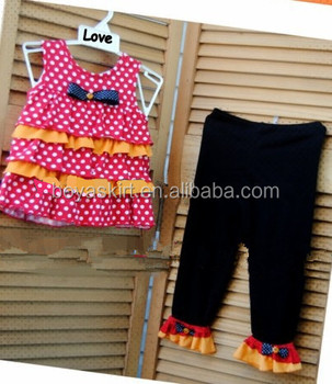 2014 baby frock designs Little Girls Outfit Pink Polka Dot Ruffle Tank Top with Black Plain Pants Cotton Summer Outfit