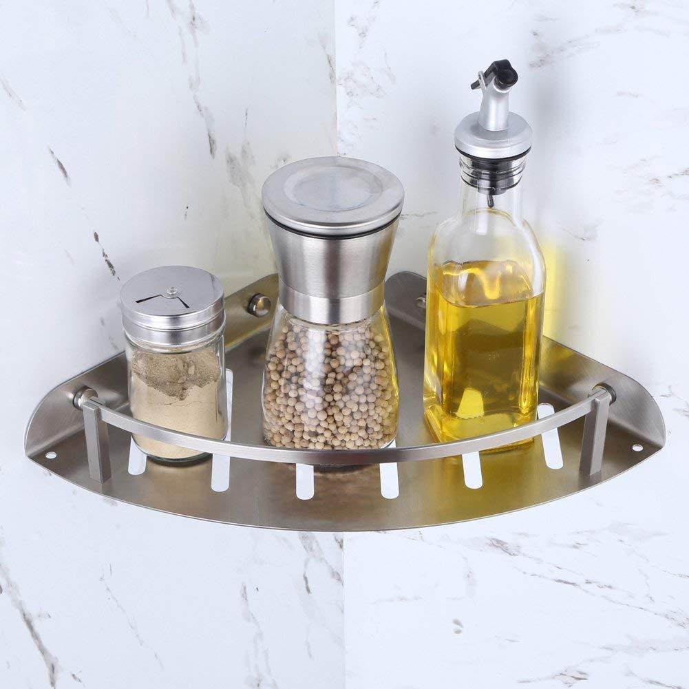 "Shower Corner Shelf Spice Rack 12"", Angle Simple SUS304 Stainless Steel Bathroom Shelf Shower Tray Basket, Small Shelf Over Corner Sink, Wall Mount Corner Shelf for Tub Shower Stall, Brushed Nickel"