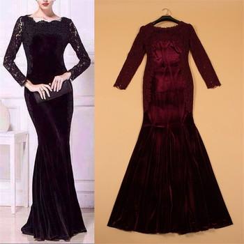 4ef2edb9a5c Uzun kollu Dantel Yaka Kat Uzunluk Dantel Eklenmiş Kadife Kırmızı Mavi Siyah  Gece Elbisesi