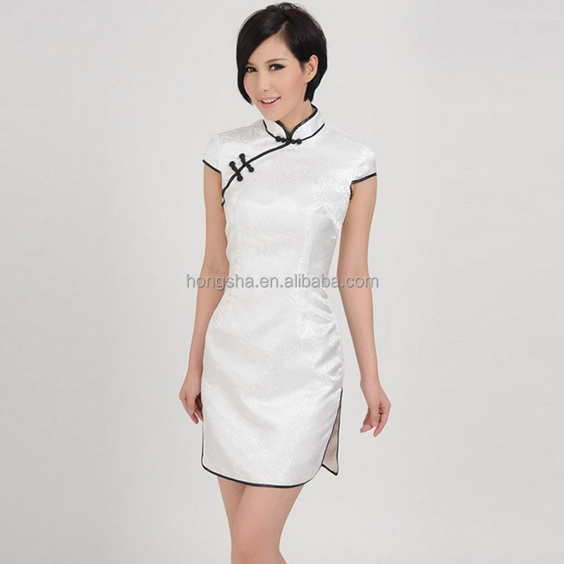 f1f5cdacede 2016 Sexy White Mini Chinese Traditional Dress Hot Sexy Cheongsam HSD9399