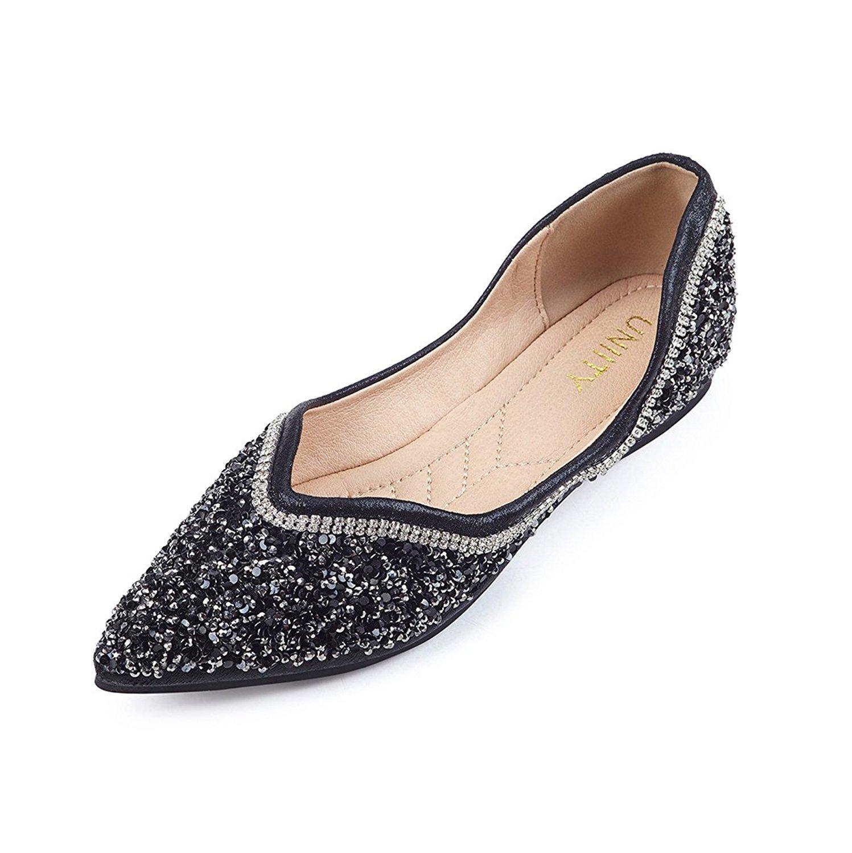 Uniity Women's Metallic Sequin Sparkle Ballet Flat Slip on Dress Pumps Ballerina Shoes Pointy Toe Sandals Evening Party Shoes