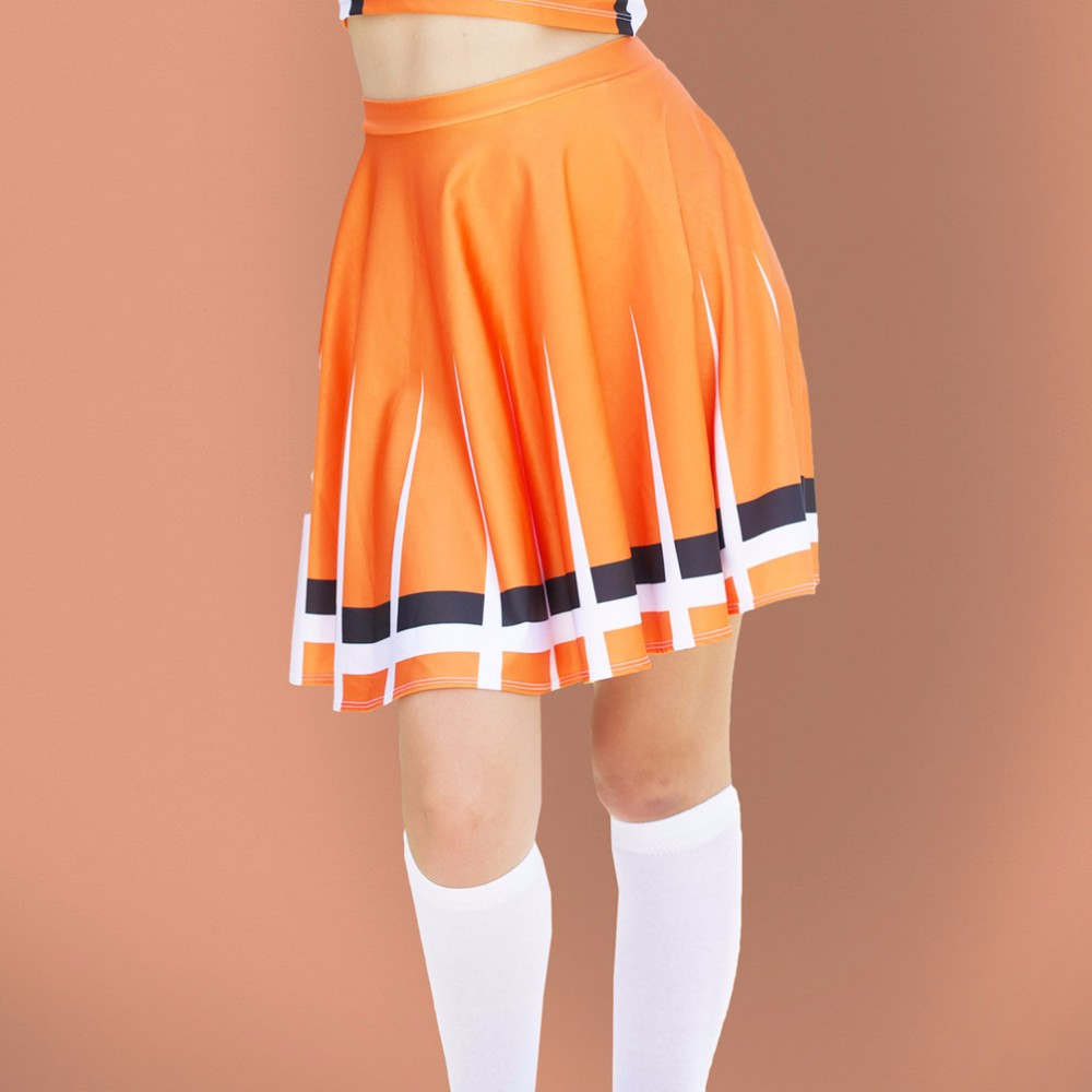 02d1eb829 Moshiner Mini Skirts Polyester Spandex High Waist Orange ...