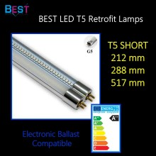 BSET T5 LED retrofit tube; short with G5 base suitable for replacing T5 fluorescent light; short 212mm 288mm 517mm