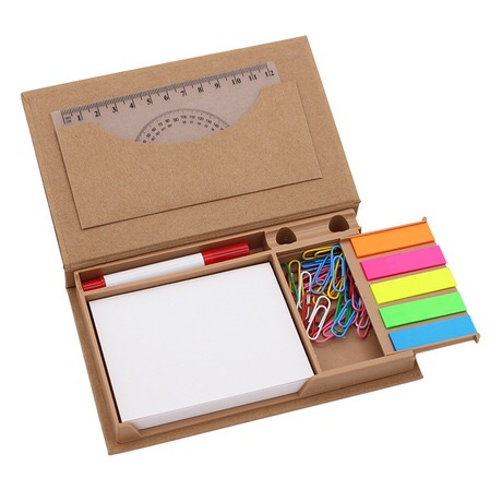 Kantoorbenodigdheden Bureau Organizer Memo Note Pads Sticky Notes en Pagina Marker met Pen Potlood Houder in Recycle Kraft Doos