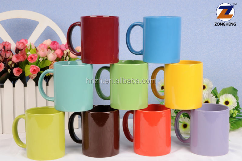 customized 11oz 12oz ceramic stoneware solid color glazed coffee mugs