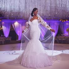 Vestido De Novia Mermaid Wedding Dresses Court Train Long Sleeve Customized Cheap Brides Dress Long Lace Bridal Gown 2014 BE1415
