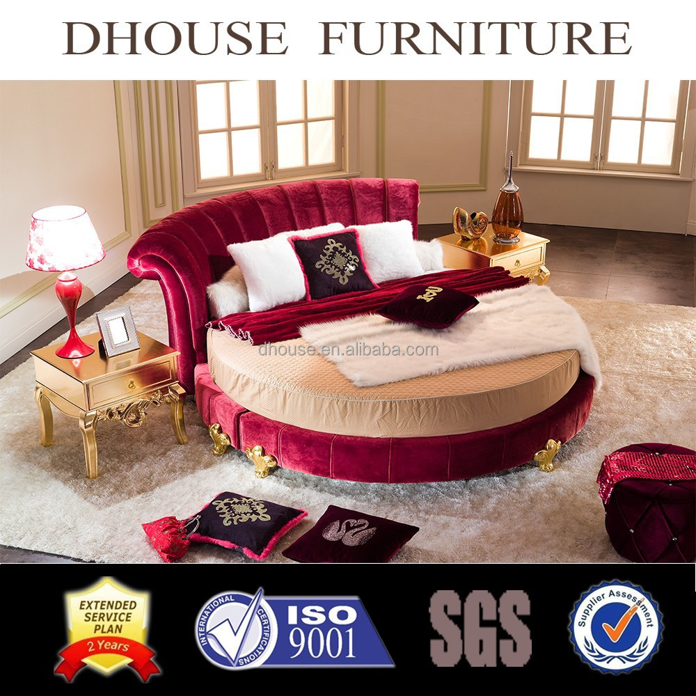New Classic Bedroom Furniture New Classic Style Red Fabric Round Bed Hotel Bedroom Furniture 021
