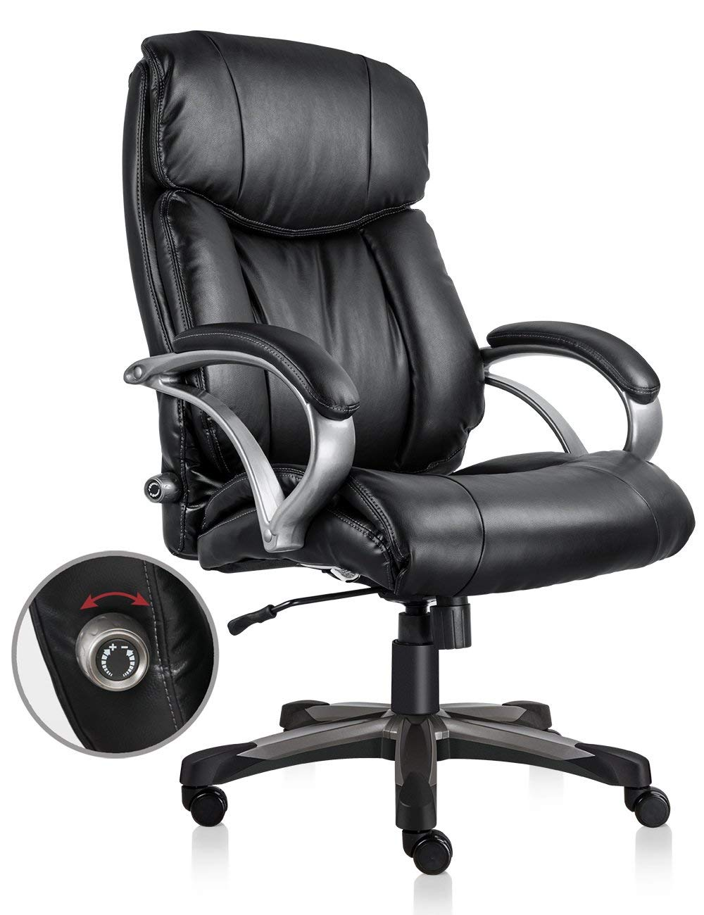 VOF Furniture Heavy Duty Executive Office Chair Ergonomic High Back Swivel Office Chair with Comfortable Lumbar Support Bonded Leather Home Office Chair(Black)