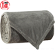 Customized Super Soft Queen Size Solid Color Heavy Mink Weighted Grey Coral Fleece Blanket for Bedding