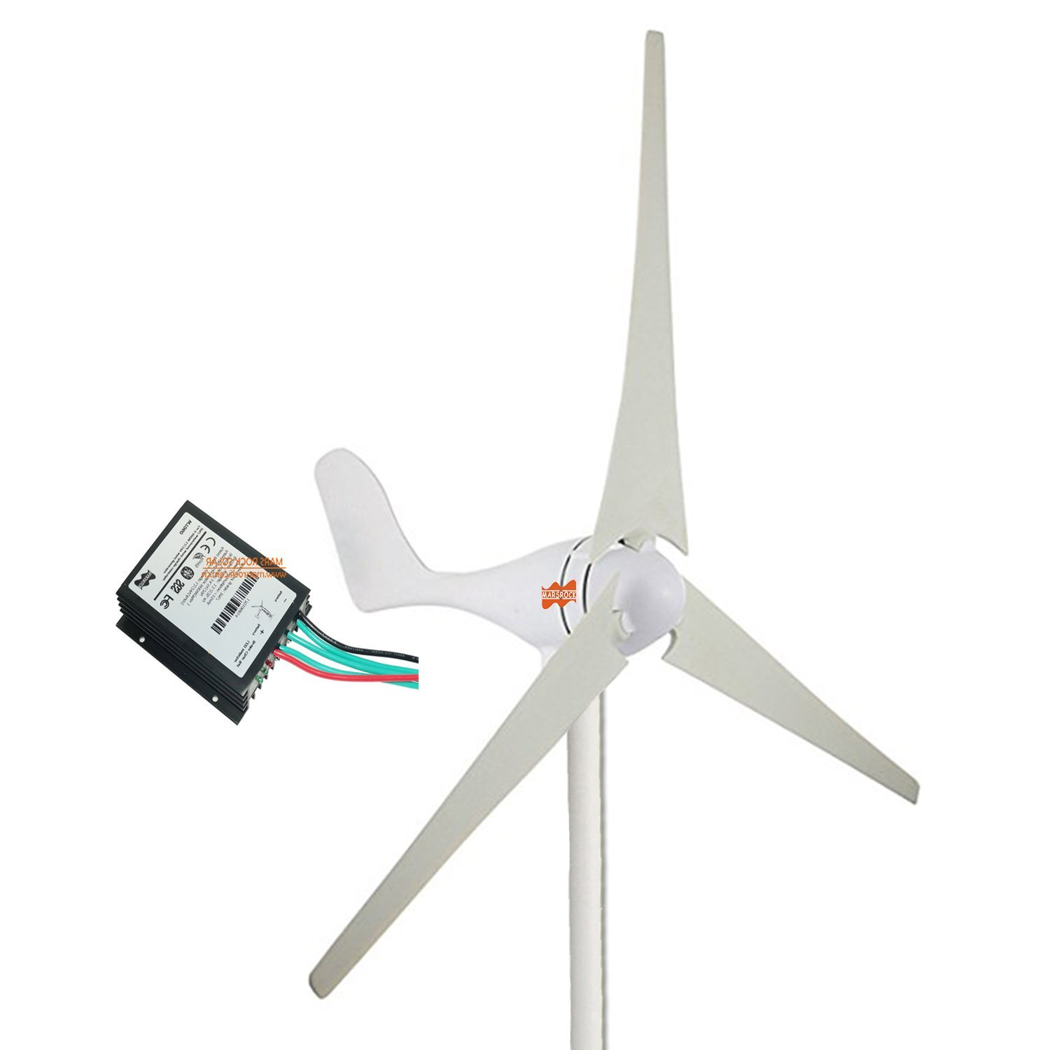 MarsRock Small Wind Turbine Generator + Wind Controller, AC 12Volt or 24Volt,400W Economy Windmill for Wind Solar Hybrid System 2m/s Start Wind Speed 3 blades (400Watt 24Volt)