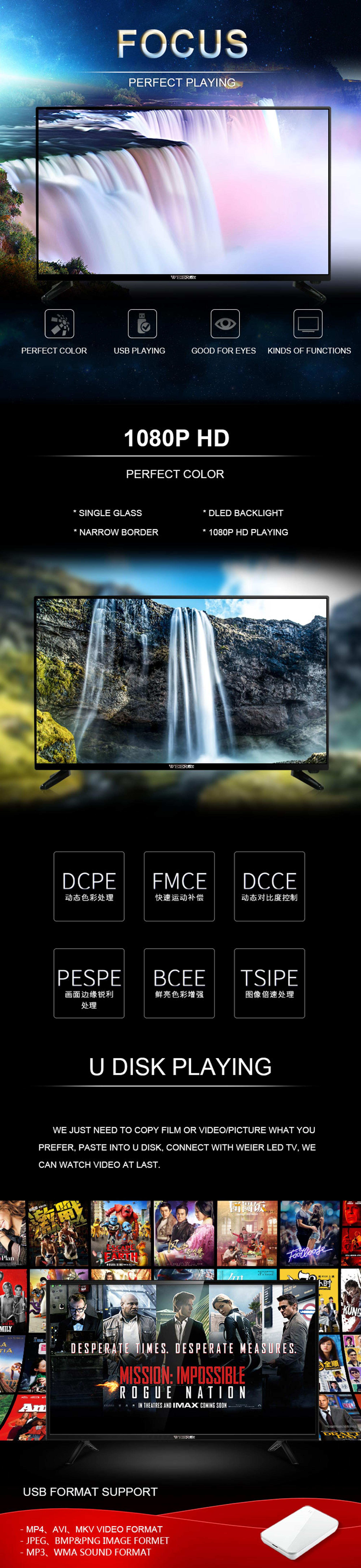 Weier 32 Inch HD LED SKD CKD TV Without Front Glass