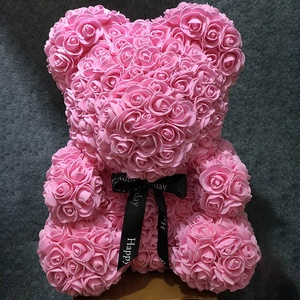 PE foam flower rose bear35cm red pink in stock teddy gift valentine roses teddy