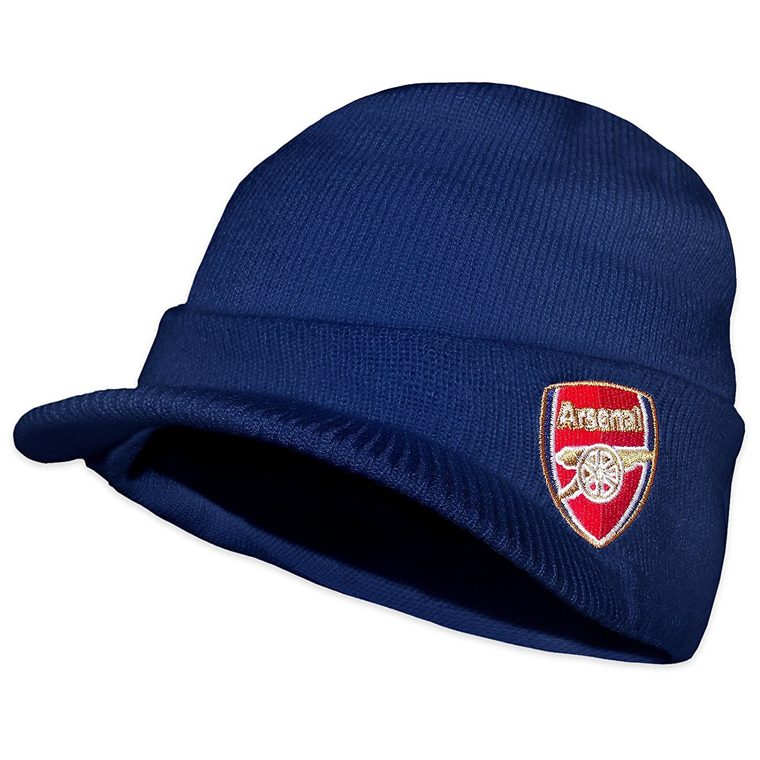 e29f5a28124 Get Quotations · Arsenal FC Official Soccer Gift Adults Knitted Peaked  Beanie Hat Navy